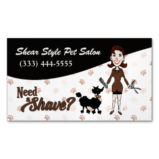 Coordinating Brown Need a Shave? Funny Custom Magnetic Business Cards