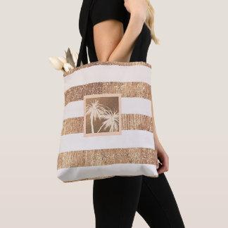Copper & Cream Tropical Palm Trees Modern Chic Tote Bag