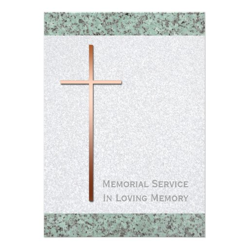 Copper Cross / Stone Funeral Announcement Custom Announcement