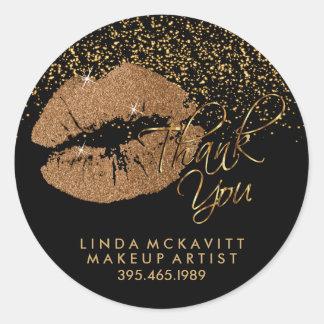 Copper Glitter Lipstick - Thank You Classic Round Sticker