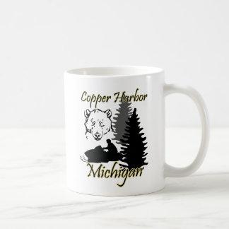 Copper Harbor Michigan Snowmobile Bear Mug