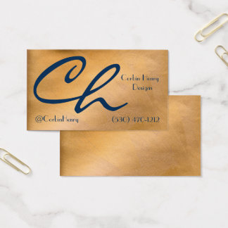 Copper Metallic And Navy Business Cards