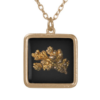 Copper Photo on Black Background Square Necklace