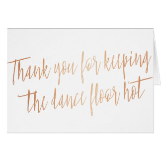 """Copper """"Thank you"""" for wedding band, musician, DJD Card"""
