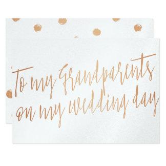 "Copper ""To my grandparents my wedding day"" 13 Cm X 18 Cm Invitation Card"