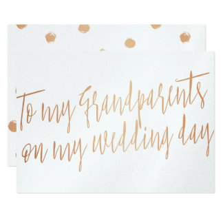 """Copper """"To my grandparents my wedding day"""" Card"""