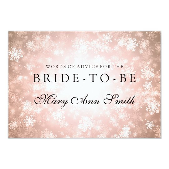Copper Winter Wonderland Advice Bridal Shower Card