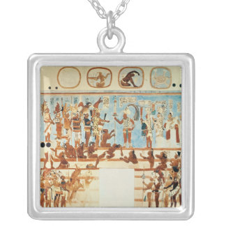 Copy of a wall painting from Bonampak Silver Plated Necklace