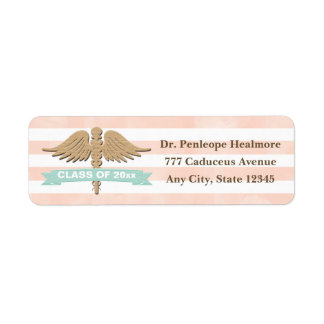 CORAL AND AQUA CADUCEUS GRADUATION RETURN ADDRESS LABEL