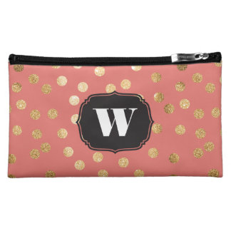 Coral and Gold Glitter Dots Custom Monogram Cosmetic Bags