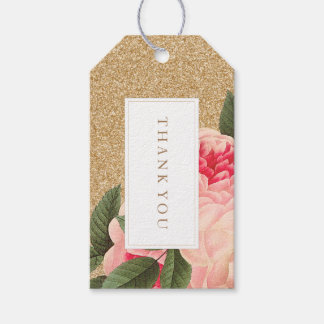 Coral and Gold Glitter Wedding Favor Gift Hang Tag