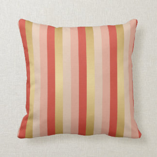 Coral and Gold Stripes Throw Cushions