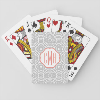 Coral and Gray Quatrefoil Monogram Playing Cards