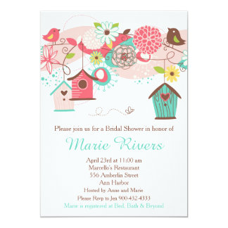 Coral and Green Floral Bird Cages Bridal Shower Card