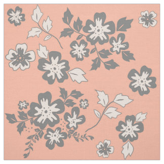 Coral and Grey Floral Pattern Fabric