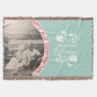 Coral and Mint Damask Photo Wedding