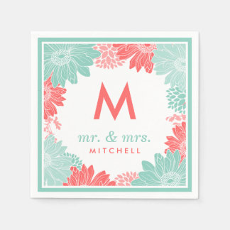 Coral and Mint Modern Floral Wedding Monogram Disposable Napkin