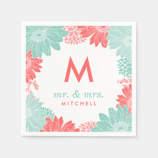 Coral and Mint Modern Floral Wedding Monogram Disposable Serviette