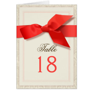 Coral and Taupe Damask Table Number Card