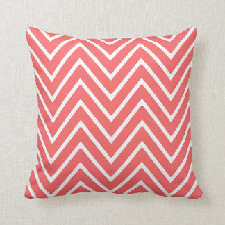 Coral and White Chevron Pattern 2 Cushion