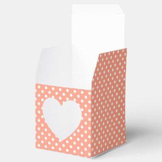 Coral and White Polka Dot Favor Box Favour Box