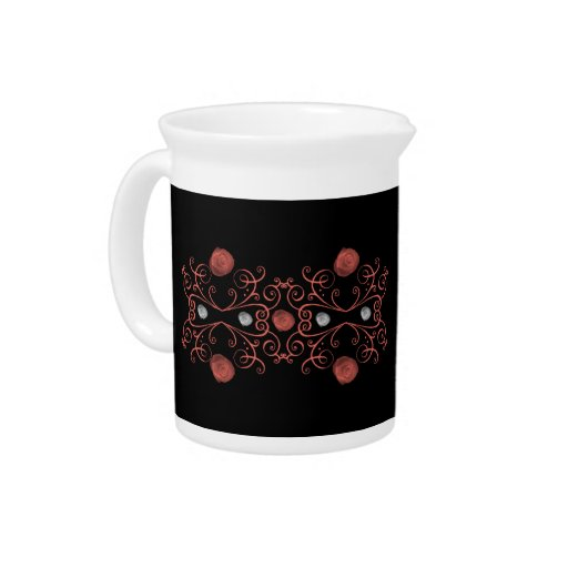 Coral and White Roses Swirls Beverage Pitchers