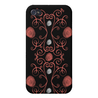 Coral and White Roses with Swirls iphone 4 case