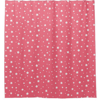 Coral and White Stars Celestial Sky Shower Curtain