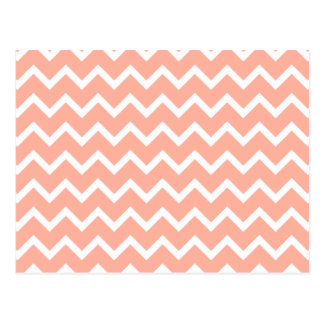 Coral and White Zig Zag Pattern. Postcard
