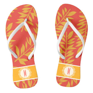 Coral and Yellow Tropical Cabana with Monogram Jandals