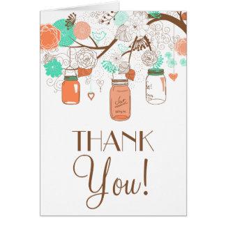 Coral & Aqua Mason Jars Thank You Card