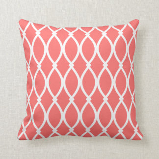 Coral Barcelona Print Throw Pillow