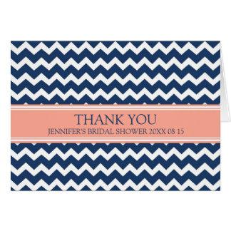 Coral Blue Chevron Bridal Shower Thank You Card