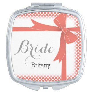 Coral Bow & White Dots Personalised Bride Compact Mirror
