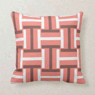 Coral,Brown and White T Weave Throw Pillow