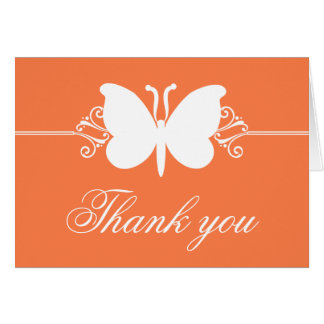 Coral Butterfly Swirls Thank You Card