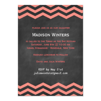 Coral & Chalkboard Chevron Bat Mitzvah Invitation