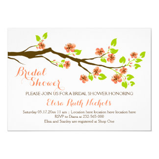 Coral cherry blossoms spring wedding bridal shower 13 cm x 18 cm invitation card