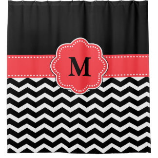 Coral Chevron Monogram Shower Curtain