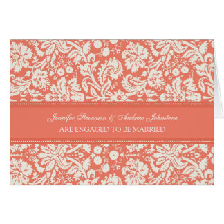 Coral Damask Engagement Announcement Card