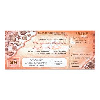 coral destination wedding tickets invitations