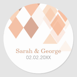 coral diamonds Geometrical Wedding favors stickers