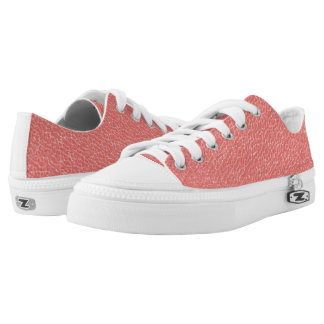 Coral Faux Leather Texture Low Tops