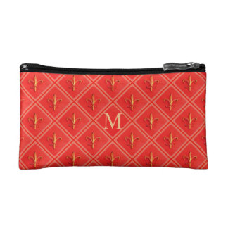 Coral French Fleur de Lis Diamond Pattern Monogram Cosmetic Bag