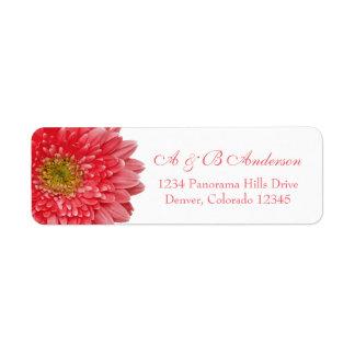 Coral Gerbera Daisy Wedding Return Address Label