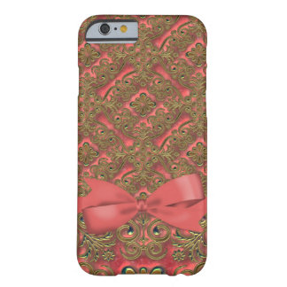 Coral & Golden Ornate Floral Elegance Barely There iPhone 6 Case