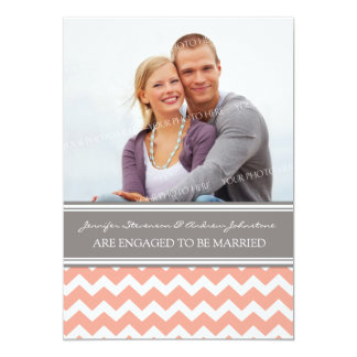 Coral Gray Chevrons Photo Engagement Announcement