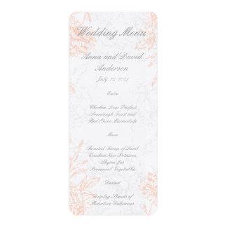 Coral Gray Floral Vintage Wedding Menu 4x9.25 Paper Invitation Card