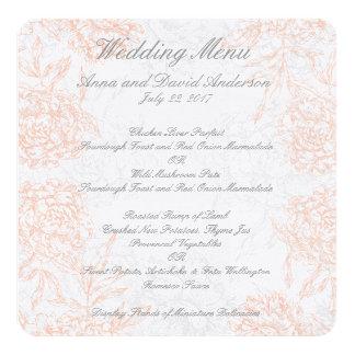 Coral Gray Floral Vintage Wedding Menu 5.25x5.25 Square Paper Invitation Card
