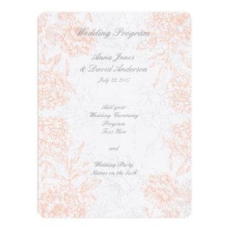 Coral Gray Floral Vintage Wedding Program 6.5x8.75 Paper Invitation Card